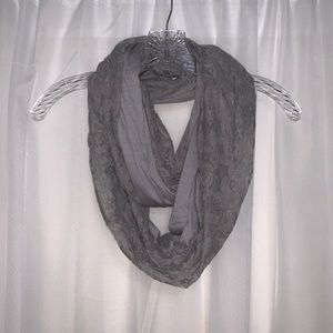 5/$20 gray on gray lace infinity scarf